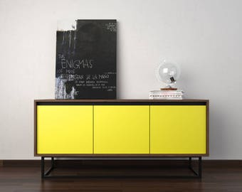 Midcentury modern sideboard - chocolate beech, yellow and black