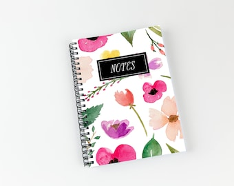 Writing journal, soft cover, book, blank spiral notebook, sketchbook, paper for notes, custom - bright watercolor floral pattern
