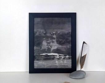 Art.Peinture ink on rice paper. 18cmx24cm black wooden frame. Reflection on water.