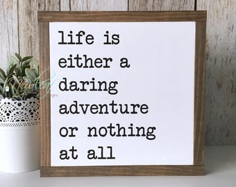 Adventure Sign - Daring Adventure Sign - Life is an Adventure - Framed Sign - Life is a Daring Adventure Sign - Shabby Chic Decor