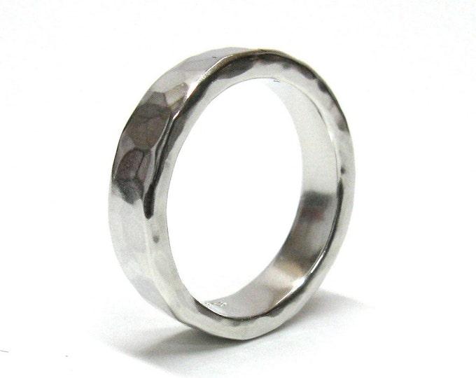 Slim Wedding Ring, Hammered Ring, Silver Wedding Ring, Hand Forged Ring, Hand Made Ring, His Ring, Her Ring, Unisex Ring.