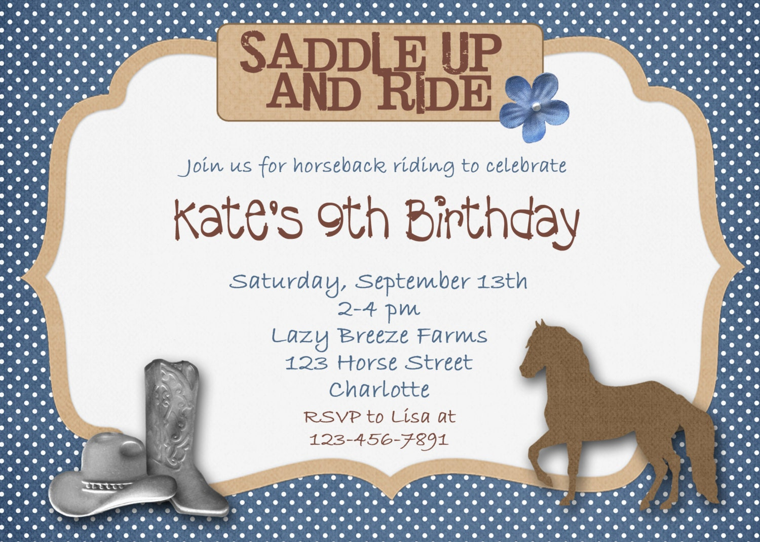 Horseback riding horse cowgirl birthday invitation cowboy