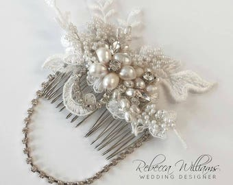 1920's Inspired Lace Comb, Bridal Lace Comb, Bridal Hair Comb, Pearl and Lace Hair Accessories