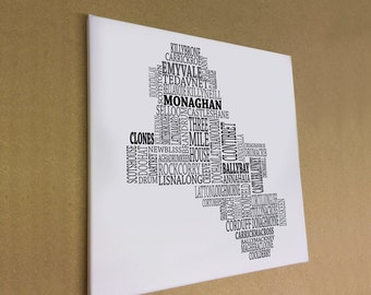 "Co. Monaghan - Typographical Map Canvas Print 16"" x 16"""