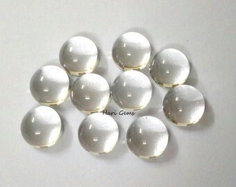 10 pieces 6mm Crystal cabochon round gemstone - Natural Crystal round cabochon loose gemstone - white crystal flat back cabochon round