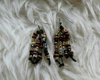 Glass and wood bead earrings