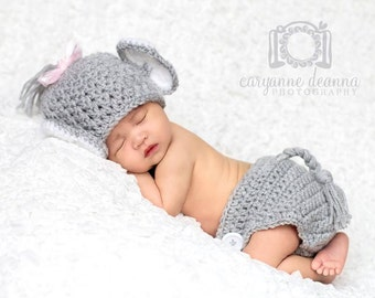 Elephant Hat and Diaper Cover, Crochet Pacoderm, Baby Animals, Halloween Costume for Baby, Gray Elephant. Newborn to 6 Months, Photo Props
