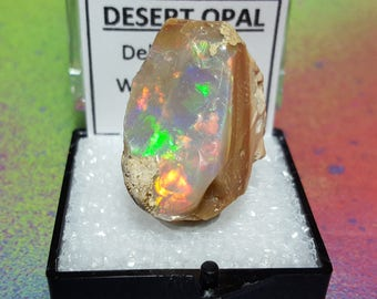 Sale OPAL 5.3 Gram Natural Rainbow Flash Desert Opal Gemstone Mineral Specimen In Perky Display Box From Ethiopia