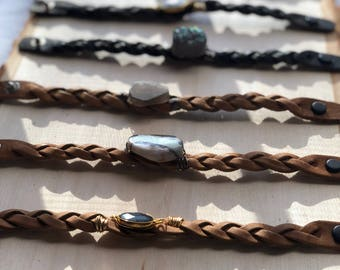Braided leather bracelets with stone/sparkling_wire/ wire wrapped/ wire wrapped bangles