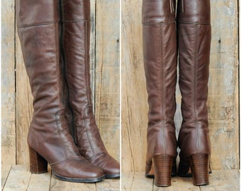1960s, Leather Boots, Us 5, Uk 3, Eu 36, Knee high Boots, Brown Leather Boots, Womens Boots, USA MADE, Tall Leather Boots, High Heel Boots
