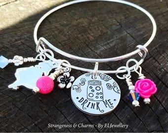 Hand Stamped 'Drink Me' Alice in Wonderland Bangle,Adjustable Aluminium Bangle,Charm Bangle,Bracelet,Wonderland,Alice in Wonderland Jewelry.