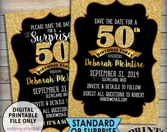 """Gold Birthday Party Save the Date, Standard or Surprise Black & Gold Glitter PRINTABLE 5x7"""" Invite, 30th 40th 50th 60th 70th 75th Birthday"""