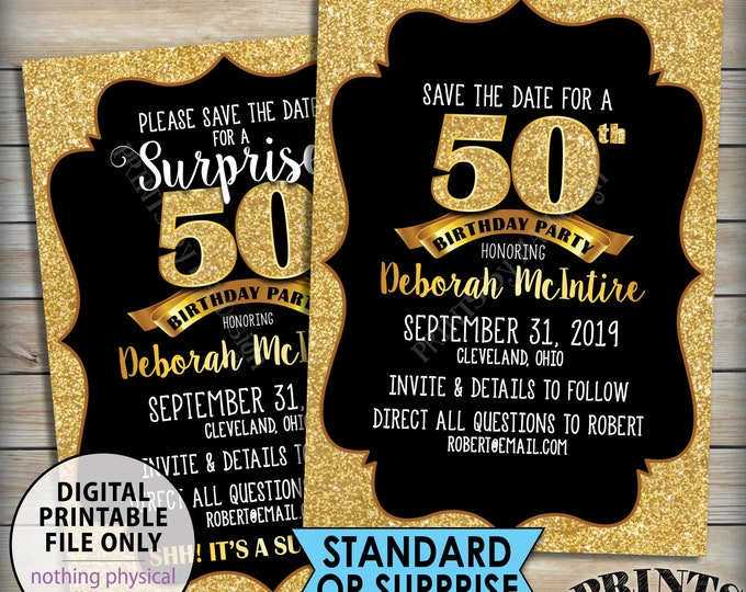 "Gold Birthday Party Save the Date, Standard or Surprise Black & Gold Glitter PRINTABLE 5x7"" Invite, 30th 40th 50th 60th 70th 75th Birthday"