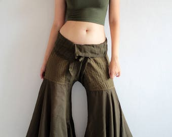 Hippie pants...Dark green mix silk M,L,(148)