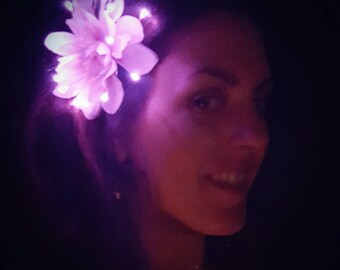 Light Pink Dahlia Flower Hair Clip with Purple LEDs