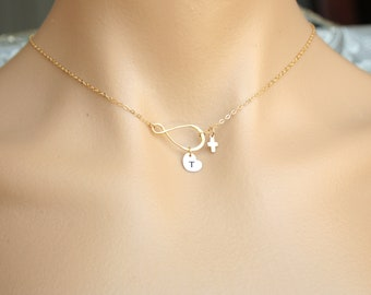 Personal All 14K gold filled necklace, Infinity with customized initial Heart and cute tiny Cross, engraved monogram heart, everyday wear