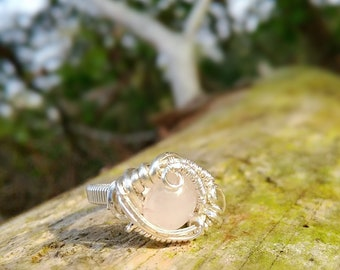 Rose Quarz and Sterling Silver Wire Wrap Ring Size 8 / handmade silver ring with rose quartz / heady wire wrap ring / abstract / ooak ring