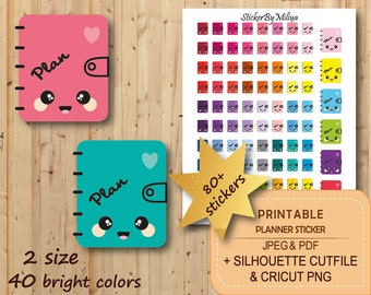 Rainbow Cute Planner stickers, life planner stickers, appointment stickers, reminder stickers, Instant download , CUT File, STR057