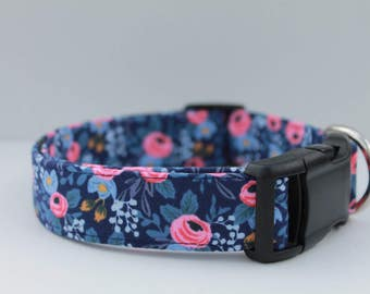 """Pink & Blue Watercolor Floral Dog Collar / Navy Dog Collar /  Blue Flower Dog Collar / Pink Rossette Dog Collar """"The Rossie"""""""