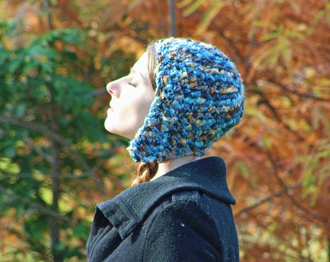 Brown and Blue  Earthy Tones EarFlap Hat Handmade Crochet Christmas Gift for Her or Him Kids Teens or Adults
