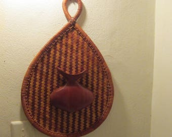 woven wall basket with mid century wood accent piece unusual