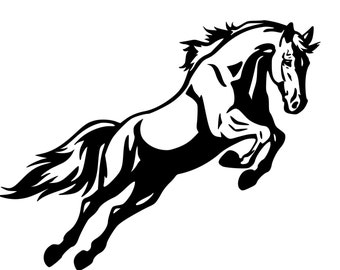 Horse Decal-Horse Jumping wall sticker, Large decal- 36 inches x 28 inches. 255-HS