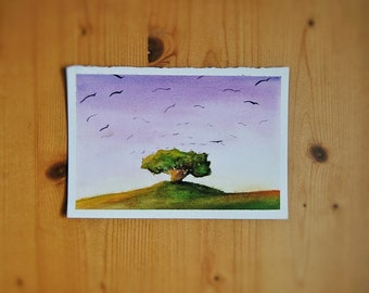 Soft color landscape. Watercolor Illustration. Tree and birds sketch. Home Decor. Nursery. Baby Room