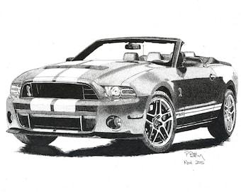 Art Print - Pen & Ink Drawing, A4 - Shelby Cobra Mustang GT500