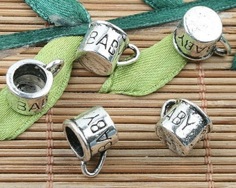 Antique Silver Baby Cup Charms, Pack Of  10, 19 X 8MM.