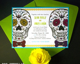 EL y EL / Sugar Skull Gay Wedding / Anniversary / Save The Date / Engagement / Party Invitations / Announcements