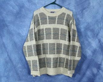 Vintage Pedleton Wool Sweater // Gray Beige Oatmeal // Pullover Jumper