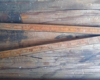Vintage 4' Folding Ruler House of Pfaff No.901 Old Tool Collection Brass and Wood