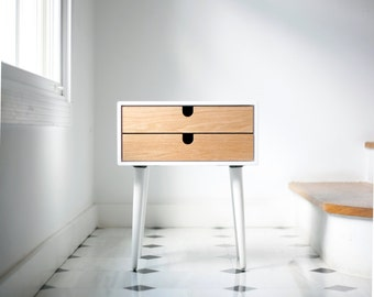 Mid Century Modern white Solid Oak Nightstand with Double Drawers