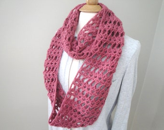 Lacy Crochet Infinity Cowl Scarf, Rose Pink, Long Loop Wrap Scarf, Women Teen Girls, Chic Fashion