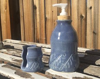 Stoneware Soap / Lotion Dispenser  with matching Sponge Holder-Wheel thrown - Handmade - blue glaze with geometric pattern