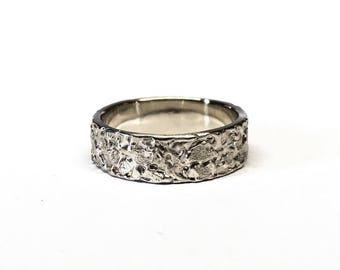 Unique Wedding Ring.  White Gold Wedding Band