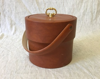 Vintage Faux Leather Ice Bucket by Shelton Ware, Mid Century Bar Ware, Insulated Champagne Bucket