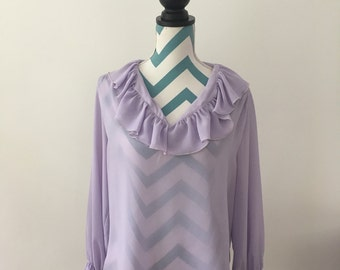 Vintage 70s Ruffle Blouse Long Sleeve Sheer Top Lilac Lavender Purple Shirt Large XL