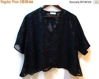 SALE Black Burnt Velvet Semi sheer blouse - Crop top - Size L XL