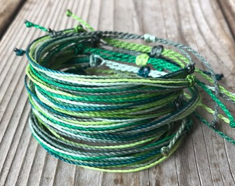 1 string bracelet, stackable bracelet, surfer bracelet, friendship bracelet, string bracelet, wax string bracelet, Green - St Patricks Day