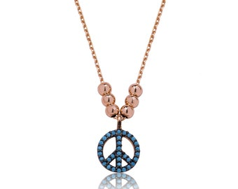 Sterling Silver Turquoise Necklace Peace Symbol - IJ1-1630