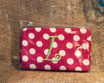 """Pink & White Hot Pink Polka Dot Wallet with initial """"L"""""""