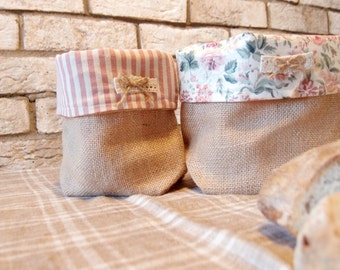 Bread basket in cloth-bread holder in fabric-bread container-baskets of cloth for bread-door napkins and cutlery cloth