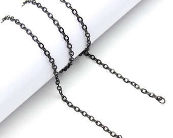 "20"" Stainless Steel Cable Chain in Black - 20"" Long x 2.5mm Wide - 1, 5, or 10 Finished Chains (single or bulk)"