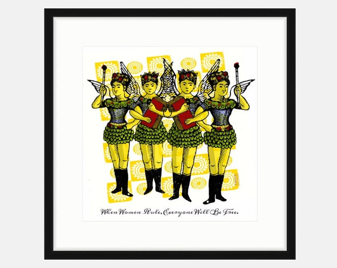 When Women Rule. Printed and framed digital collage by Liza Cowan. 2 sizes and 2 frame choices. FREE SHIPPING