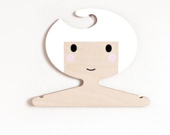 White Haired Girl Plywood Clothes Hanger-Perfect for displaying Favourite Outfits