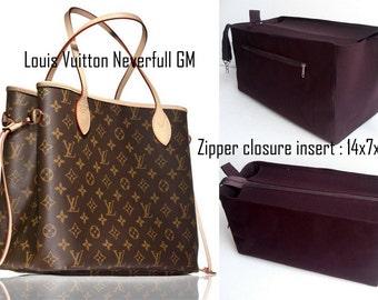Purse organizer for Louis Vuitton Neverfull GM with Zipper closure- Bag organizer insert in Brown