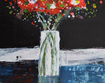 Art on Sale. Acrylic Still Life Floral Art Painting. Red Palette Knife Flowers Painting. Home Wall Art Gift Decor. Art by Katie Jeanne. 75