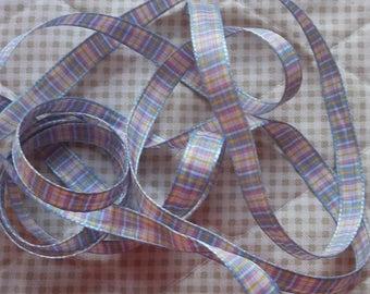 Ribbon PLAID tones pastel 10mm (1 cm)-selling by the yard