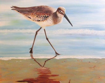 The Sandpiper oil original 18x24 seascape island art